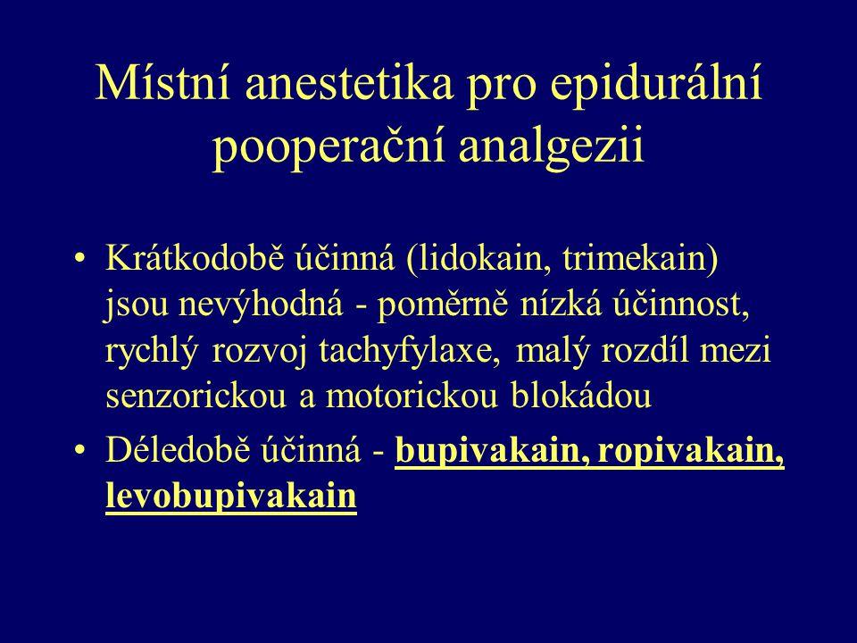 Místní anestetika pro epidurální pooperační analgezii Krátkodobě účinná (lidokain, trimekain) jsou nevýhodná - poměrně nízká účinnost, rychlý rozvoj t