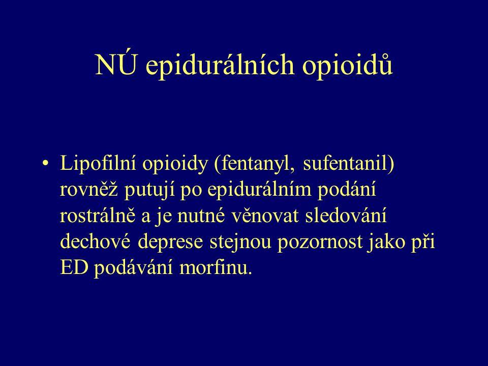 NÚ epidurálních opioidů Lipofilní opioidy (fentanyl, sufentanil) rovněž putují po epidurálním podání rostrálně a je nutné věnovat sledování dechové de