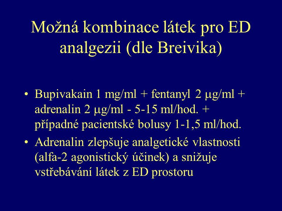 Možná kombinace látek pro ED analgezii (dle Breivika) Bupivakain 1 mg/ml + fentanyl 2  g/ml + adrenalin 2  g/ml - 5-15 ml/hod. + případné pacientské