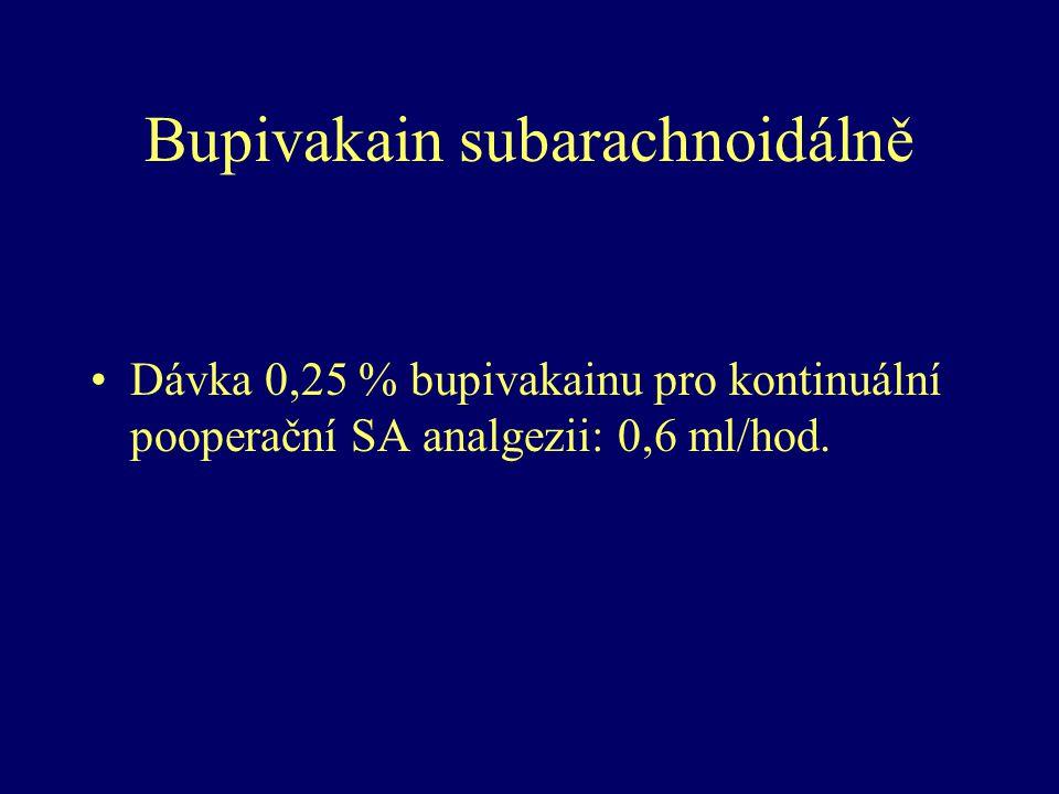 Bupivakain subarachnoidálně Dávka 0,25 % bupivakainu pro kontinuální pooperační SA analgezii: 0,6 ml/hod.