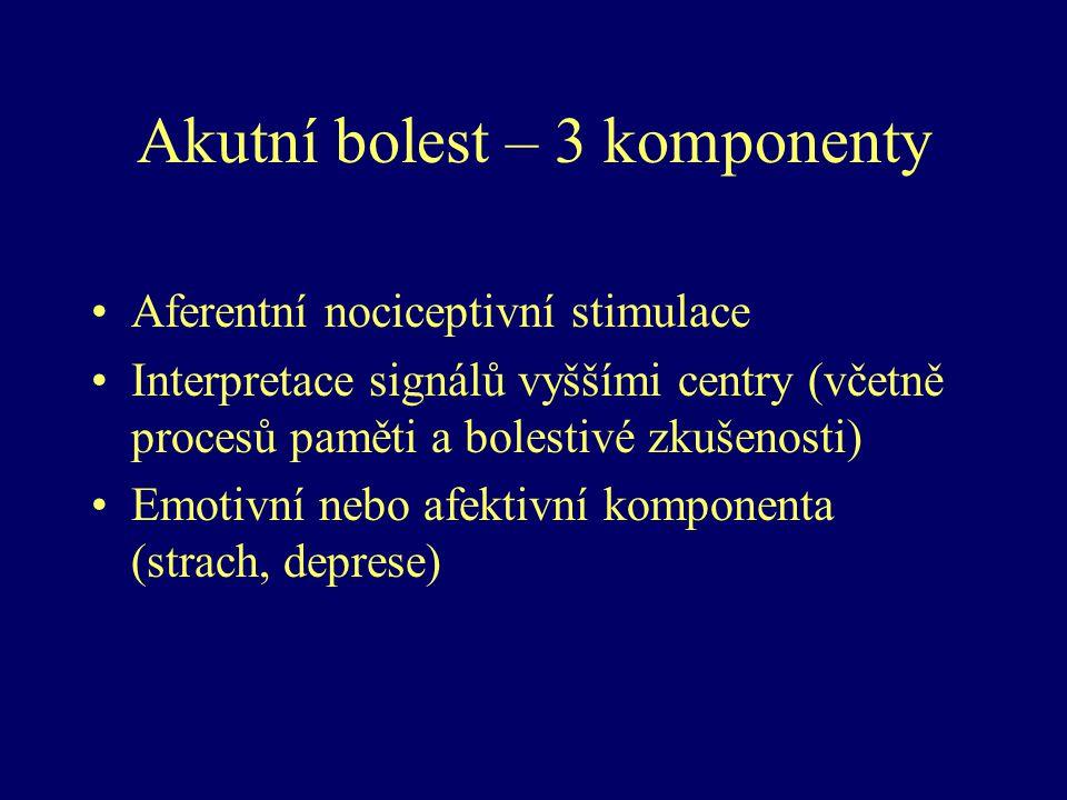 Akutní bolest – 3 komponenty Aferentní nociceptivní stimulace Interpretace signálů vyššími centry (včetně procesů paměti a bolestivé zkušenosti) Emoti