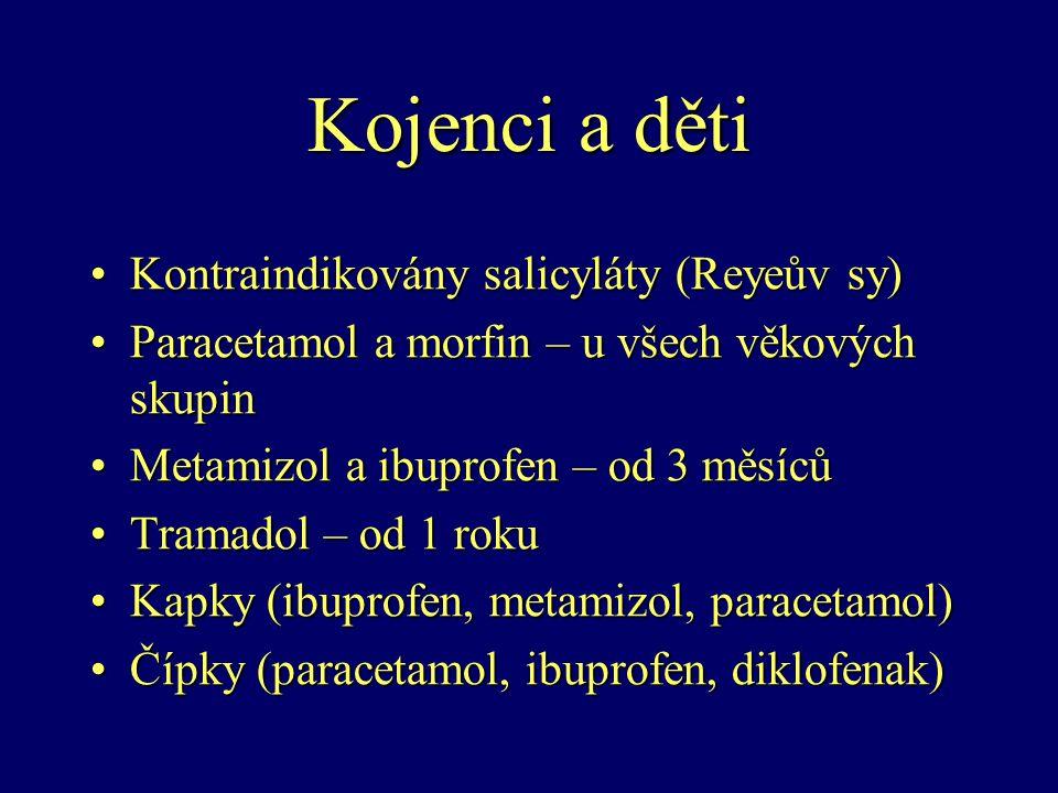Kojenci a děti Kontraindikovány salicyláty (Reyeův sy)Kontraindikovány salicyláty (Reyeův sy) Paracetamol a morfin – u všech věkových skupinParacetamo
