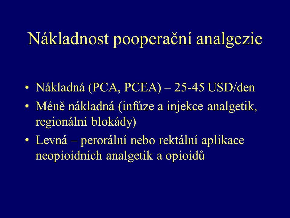 Nákladnost pooperační analgezie Nákladná (PCA, PCEA) – 25-45 USD/den Méně nákladná (infúze a injekce analgetik, regionální blokády) Levná – perorální