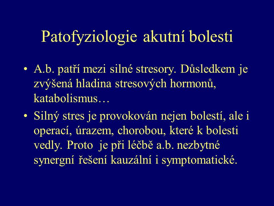 Patofyziologie akutní bolesti A.b. patří mezi silné stresory. Důsledkem je zvýšená hladina stresových hormonů, katabolismus… Silný stres je provokován