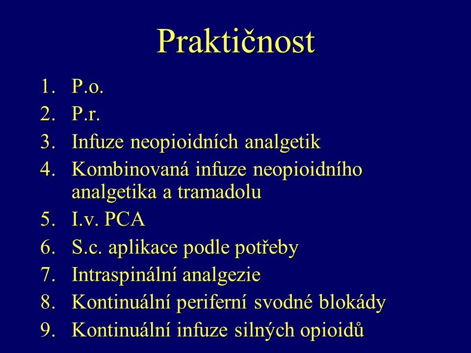 Praktičnost 1.P.o. 2.P.r. 3.Infuze neopioidních analgetik 4.Kombinovaná infuze neopioidního analgetika a tramadolu 5.I.v. PCA 6.S.c. aplikace podle po