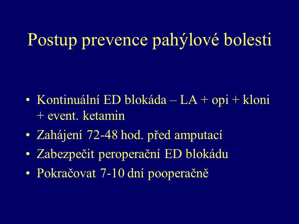 Postup prevence pahýlové bolesti Kontinuální ED blokáda – LA + opi + kloni + event. ketamin Zahájení 72-48 hod. před amputací Zabezpečit peroperační E