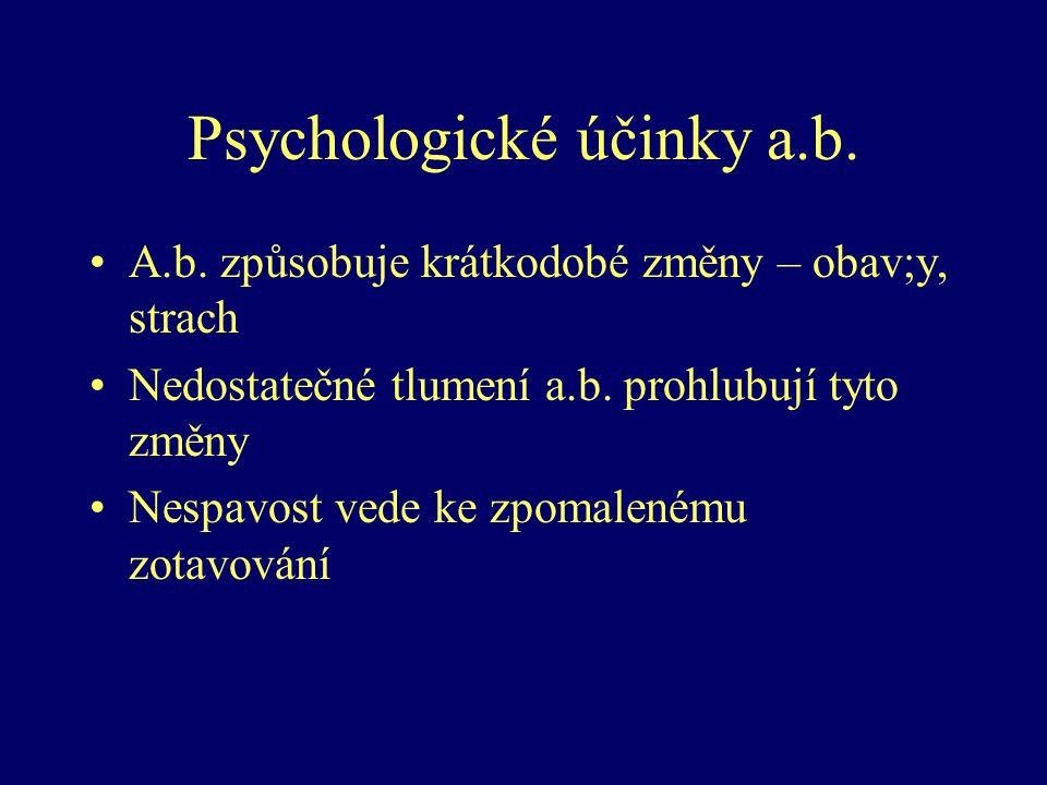 Psychologické účinky a.b. A.b. způsobuje krátkodobé změny – obav;y, strach Nedostatečné tlumení a.b. prohlubují tyto změny Nespavost vede ke zpomalené