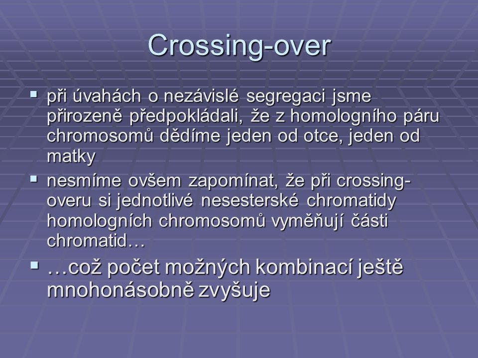 Crossing-over  při úvahách o nezávislé segregaci jsme přirozeně předpokládali, že z homologního páru chromosomů dědíme jeden od otce, jeden od matky