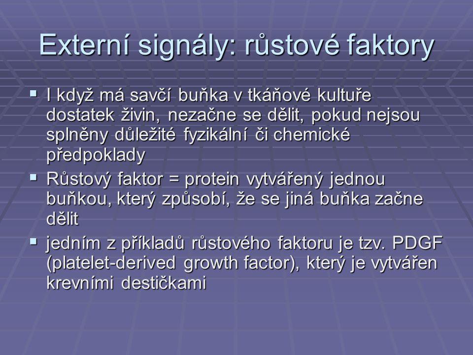 Externí signály: růstové faktory  I když má savčí buňka v tkáňové kultuře dostatek živin, nezačne se dělit, pokud nejsou splněny důležité fyzikální č
