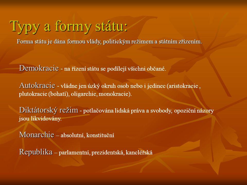 Typy a formy státu: Forma státu je dána formou vlády, politickým režimem a státním zřízením. Demokracie Demokracie - na řízení státu se podílejí všich