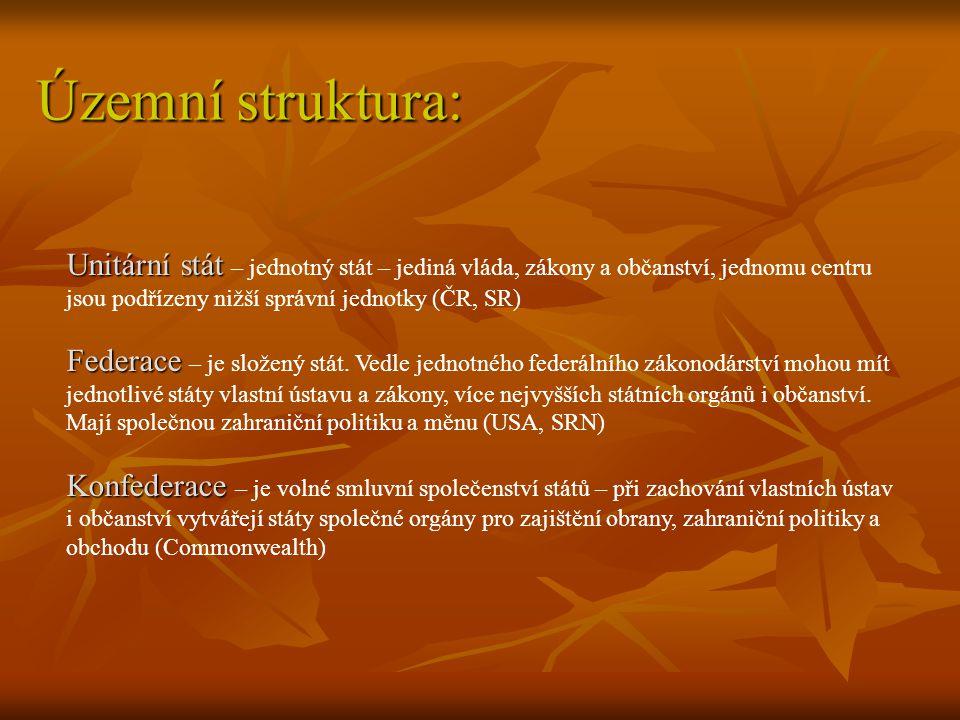 Územní struktura: Unitární stát Unitární stát – jednotný stát – jediná vláda, zákony a občanství, jednomu centru jsou podřízeny nižší správní jednotky