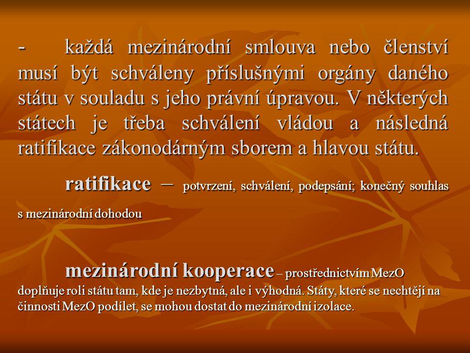 - každá mezinárodní smlouva nebo členství musí být schváleny příslušnými orgány daného státu v souladu s jeho právní úpravou. V některých státech je t