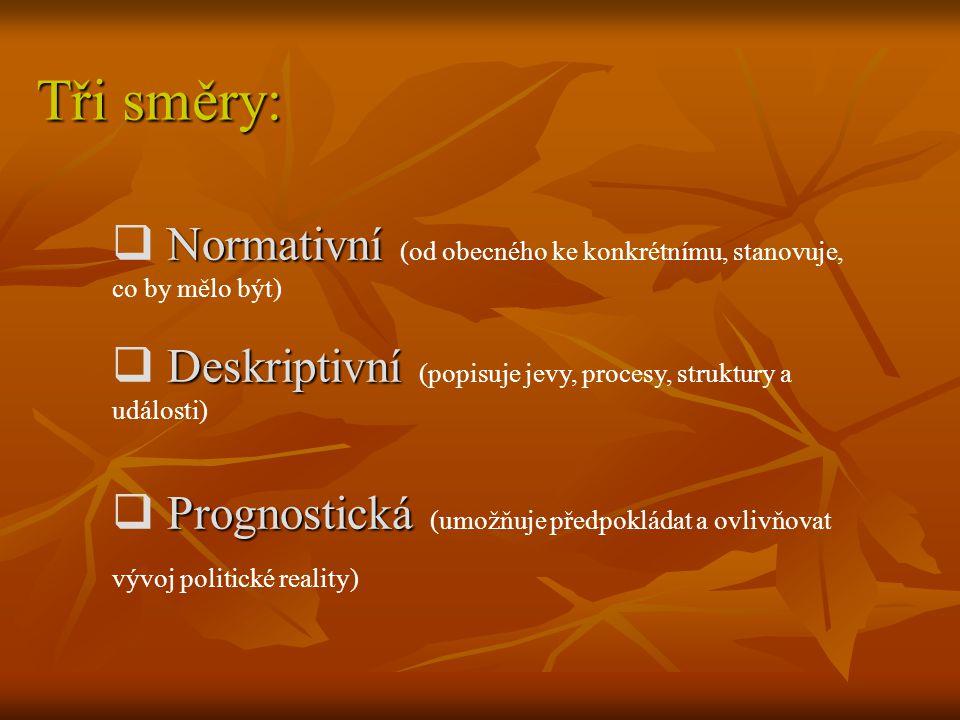 Normativní  Normativní (od obecného ke konkrétnímu, stanovuje, co by mělo být) Deskriptivní  Deskriptivní (popisuje jevy, procesy, struktury a událo