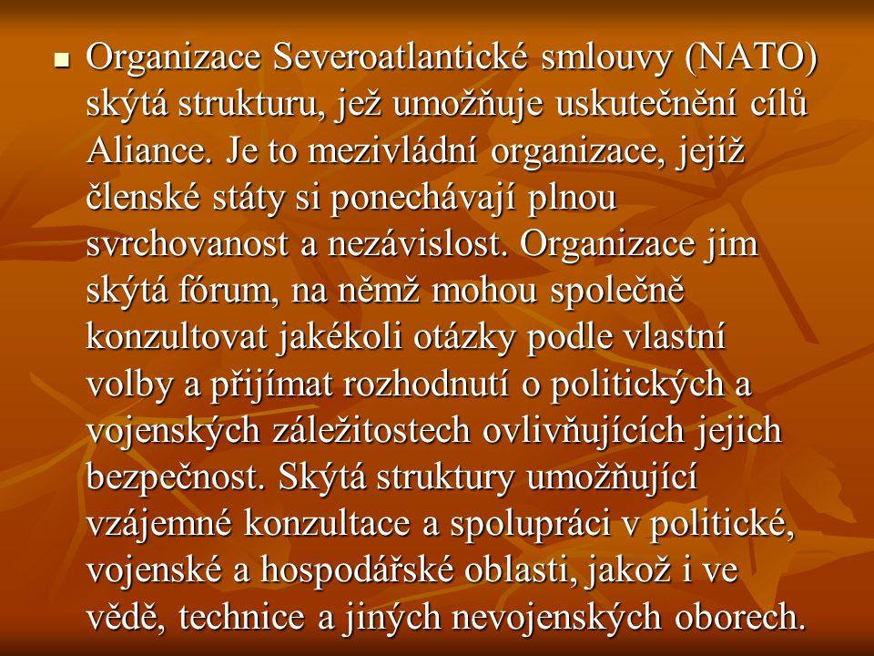 Organizace Severoatlantické smlouvy (NATO) skýtá strukturu, jež umožňuje uskutečnění cílů Aliance. Je to mezivládní organizace, jejíž členské státy si