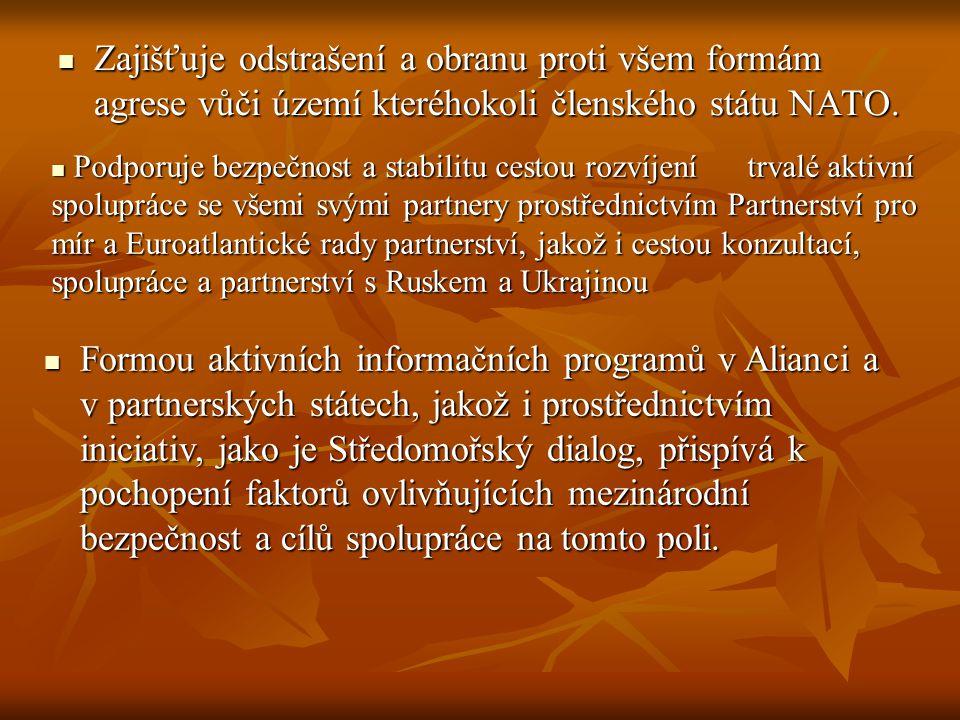 Zajišťuje odstrašení a obranu proti všem formám agrese vůči území kteréhokoli členského státu NATO. Zajišťuje odstrašení a obranu proti všem formám ag