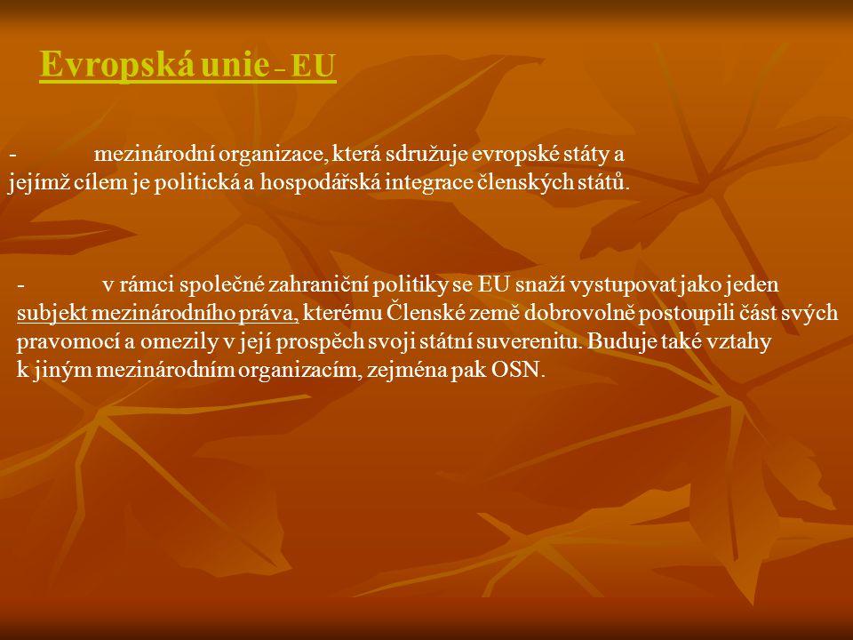 -mezinárodní organizace, která sdružuje evropské státy a jejímž cílem je politická a hospodářská integrace členských států. Evropská unie – EU -v rámc