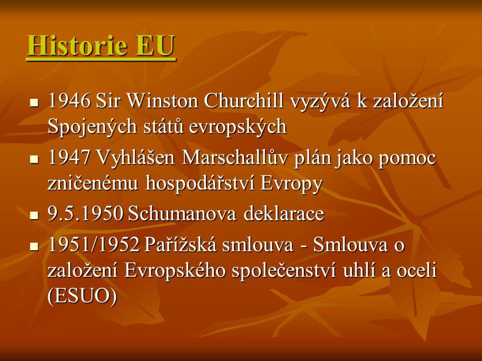 Historie EU 1946 Sir Winston Churchill vyzývá k založení Spojených států evropských 1946 Sir Winston Churchill vyzývá k založení Spojených států evrop