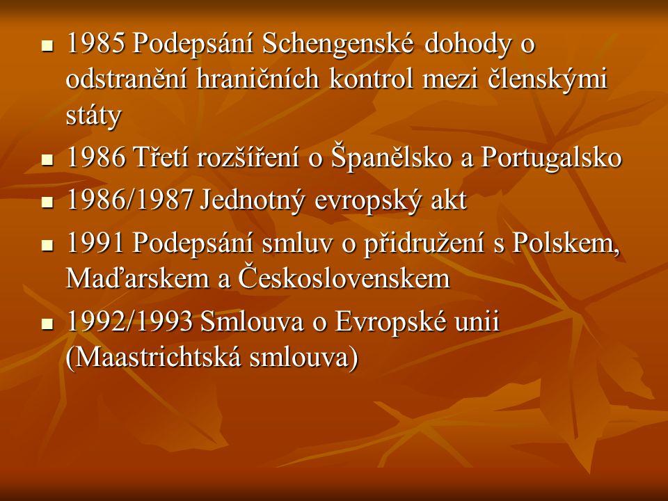 1985 Podepsání Schengenské dohody o odstranění hraničních kontrol mezi členskými státy 1985 Podepsání Schengenské dohody o odstranění hraničních kontr