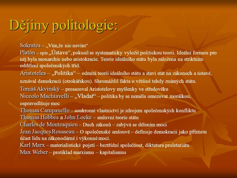 Dějiny politologie: Sokrates Platón Aristoteles TomášAkvinský Niccolo Machiavelli Thomas Campanello Thomas HobbesJohn Locke Charles de Montesquieu Jea