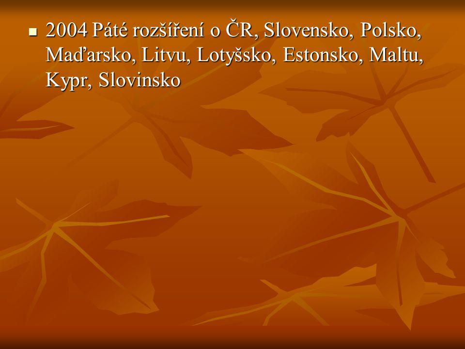 2004 Páté rozšíření o ČR, Slovensko, Polsko, Maďarsko, Litvu, Lotyšsko, Estonsko, Maltu, Kypr, Slovinsko 2004 Páté rozšíření o ČR, Slovensko, Polsko,