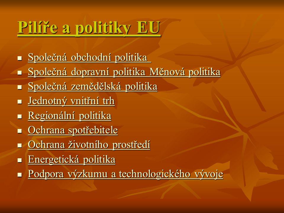 Pilíře a politiky EU Společná obchodní politika Společná obchodní politika Společná obchodní politika Společná obchodní politika Společná dopravní pol
