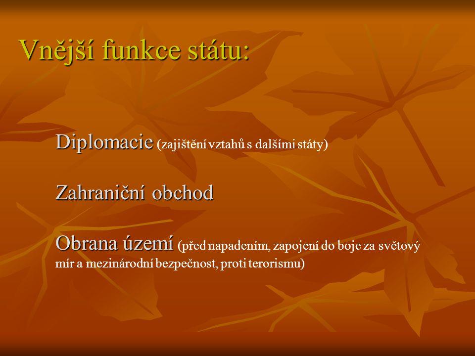 Vnější funkce státu: Diplomacie Diplomacie (zajištění vztahů s dalšími státy) Zahraniční obchod Obrana území Obrana území (před napadením, zapojení do