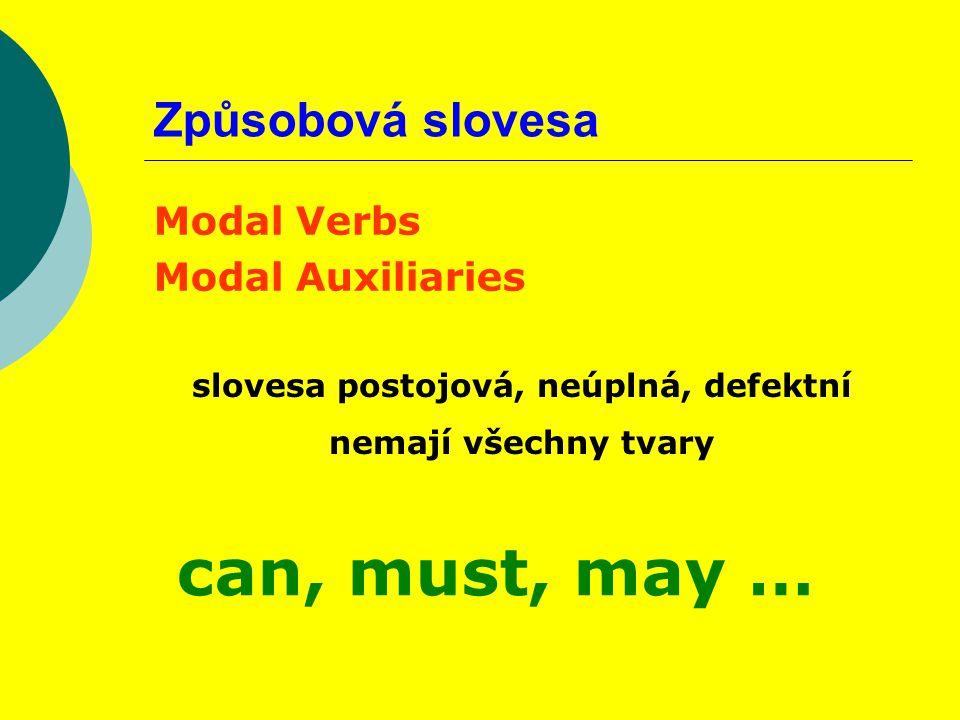 Způsobová slovesa Modal Verbs Modal Auxiliaries slovesa postojová, neúplná, defektní nemají všechny tvary can, must, may …