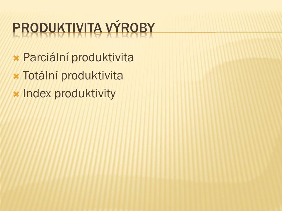  Parciální produktivita  Totální produktivita  Index produktivity