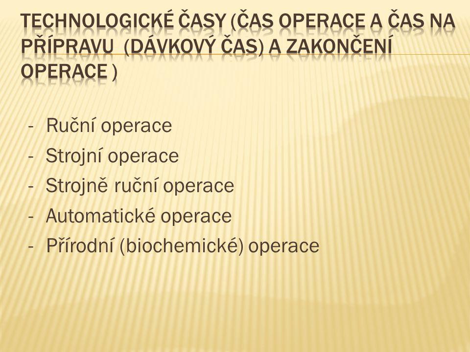 -Ruční operace -Strojní operace -Strojně ruční operace -Automatické operace -Přírodní (biochemické) operace