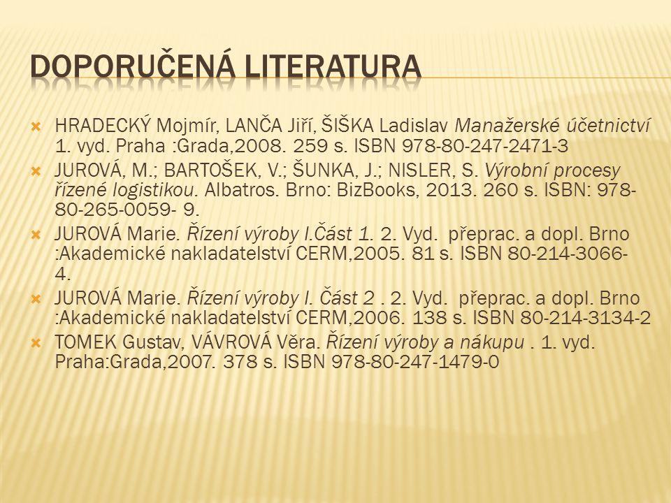  HRADECKÝ Mojmír, LANČA Jiří, ŠIŠKA Ladislav Manažerské účetnictví 1. vyd. Praha :Grada,2008. 259 s. ISBN 978-80-247-2471-3  JUROVÁ, M.; BARTOŠEK, V