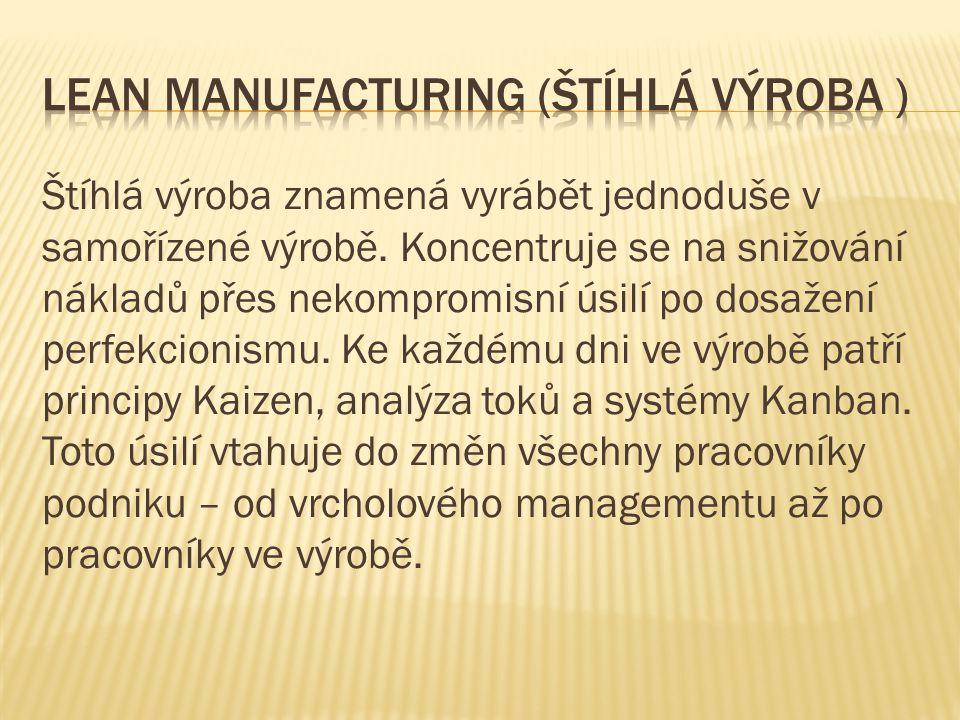 Štíhlá výroba znamená vyrábět jednoduše v samořízené výrobě. Koncentruje se na snižování nákladů přes nekompromisní úsilí po dosažení perfekcionismu.