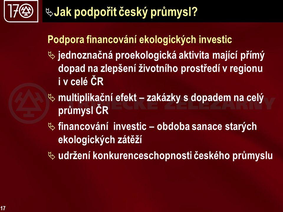 17  Jak podpořit český průmysl? Podpora financování ekologických investic  jednoznačná proekologická aktivita mající přímý dopad na zlepšení životní