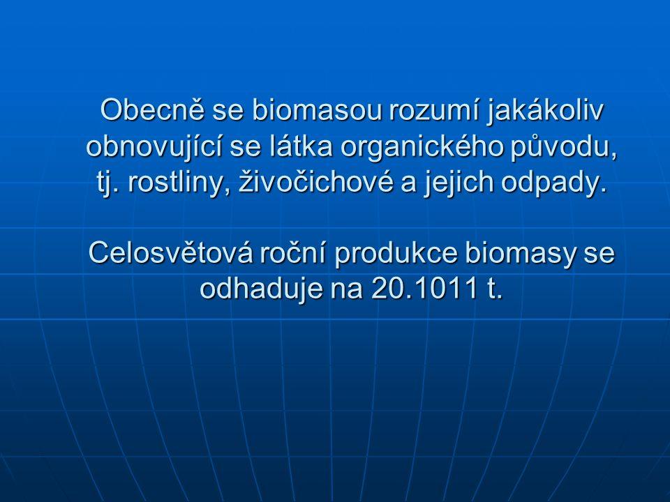 Obecně se biomasou rozumí jakákoliv obnovující se látka organického původu, tj. rostliny, živočichové a jejich odpady. Celosvětová roční produkce biom