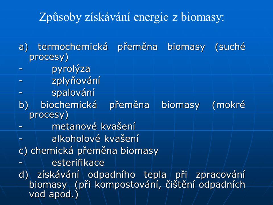 Způsoby získávání energie z biomasy: a) termochemická přeměna biomasy (suché procesy) - pyrolýza - zplyňování - spalování b) biochemická přeměna bioma