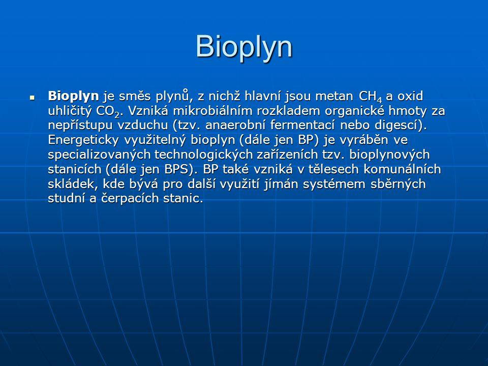 Bioplyn Bioplyn je směs plynů, z nichž hlavní jsou metan CH 4 a oxid uhličitý CO 2. Vzniká mikrobiálním rozkladem organické hmoty za nepřístupu vzduch