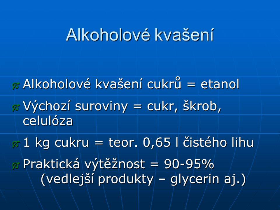 Alkoholové kvašení  Alkoholové kvašení cukrů = etanol  Výchozí suroviny = cukr, škrob, celulóza  1 kg cukru = teor. 0,65 l čistého lihu  Praktická