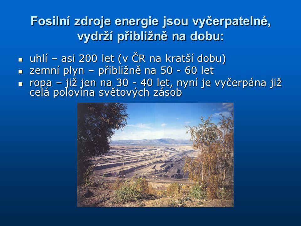 Fosilní zdroje energie jsou vyčerpatelné, vydrží přibližně na dobu: uhlí – asi 200 let (v ČR na kratší dobu) uhlí – asi 200 let (v ČR na kratší dobu)