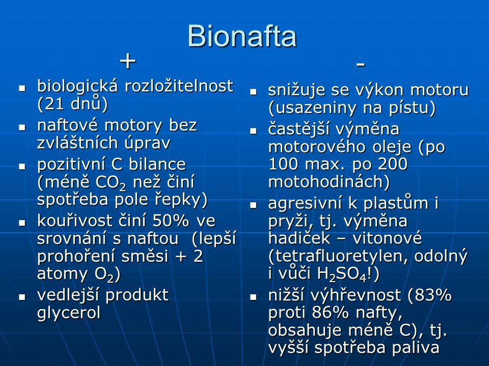 Bionafta+ biologická rozložitelnost (21 dnů) biologická rozložitelnost (21 dnů) naftové motory bez zvláštních úprav naftové motory bez zvláštních úpra