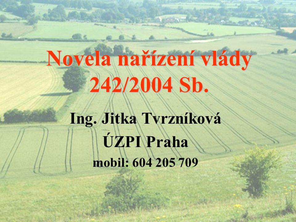 Novela nařízení vlády 242/2004 Sb. Ing. Jitka Tvrzníková ÚZPI Praha mobil: 604 205 709