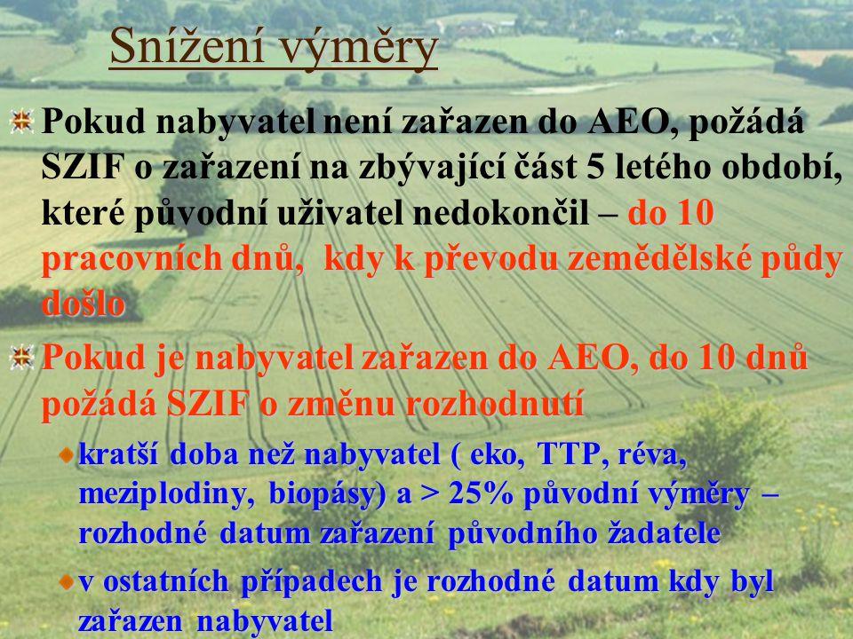 Snížení výměry do 10 pracovních dnů, kdy k převodu zemědělské půdy došlo Pokud nabyvatel není zařazen do AEO, požádá SZIF o zařazení na zbývající část