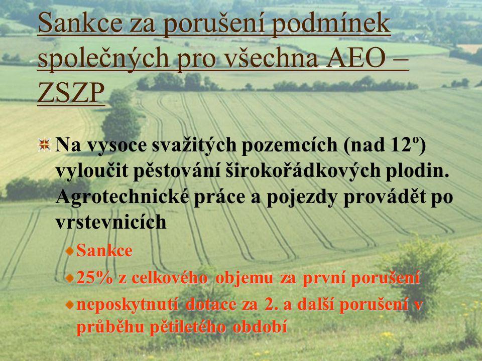 Sankce za porušení podmínek společných pro všechna AEO – ZSZP Na vysoce svažitých pozemcích (nad 12º) vyloučit pěstování širokořádkových plodin. Agrot