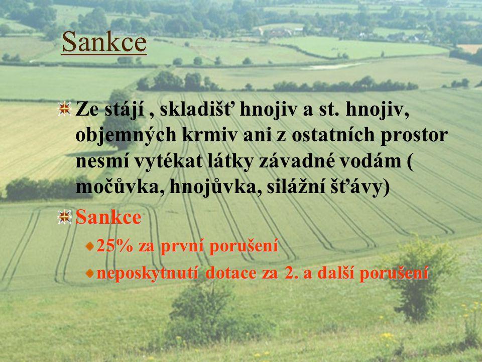 Sankce Ze stájí, skladišť hnojiv a st. hnojiv, objemných krmiv ani z ostatních prostor nesmí vytékat látky závadné vodám ( močůvka, hnojůvka, silážní