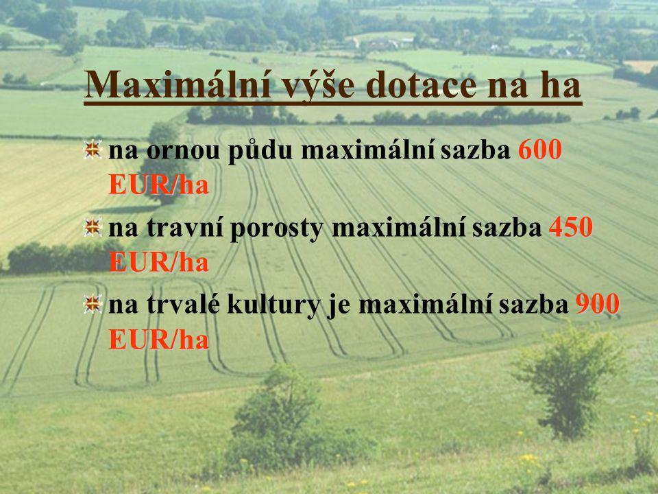 Maximální výše dotace na ha 600 EUR/ha na ornou půdu maximální sazba 600 EUR/ha 450 EUR/ha na travní porosty maximální sazba 450 EUR/ha 900 EUR/ha na