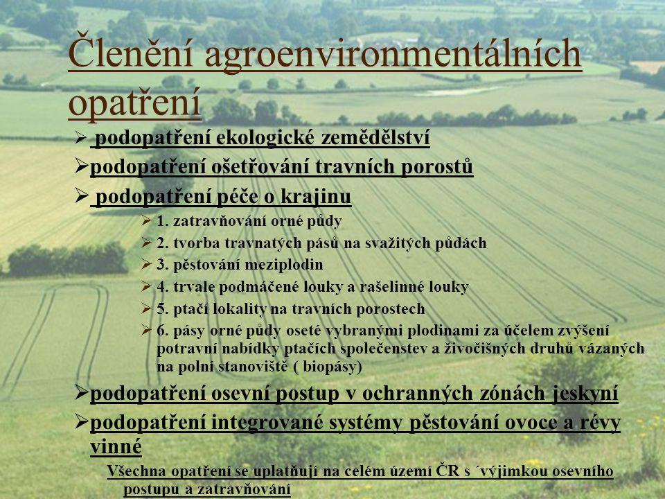 Členění agroenvironmentálních opatření  podopatření ekologické zemědělství  podopatření ošetřování travních porostů  podopatření péče o krajinu  1