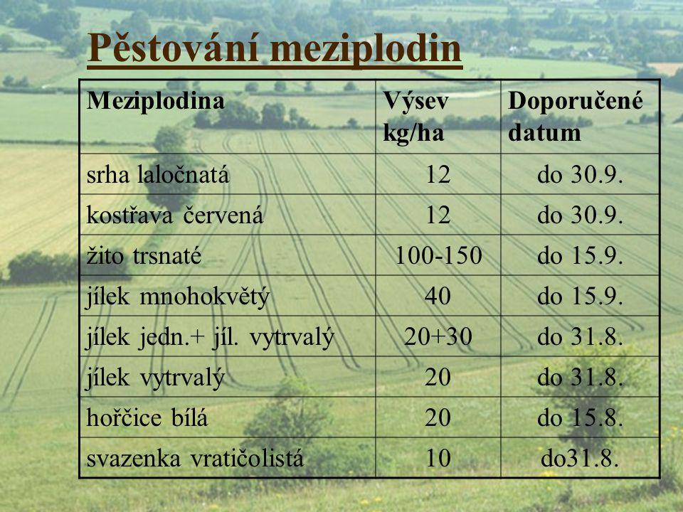 Pěstování meziplodin MeziplodinaVýsev kg/ha Doporučené datum srha laločnatá12do 30.9. kostřava červená12do 30.9. žito trsnaté100-150do 15.9. jílek mno