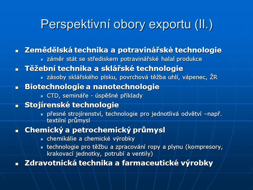 Perspektivní obory exportu (II.) Zemědělská technika a potravinářské technologie Zemědělská technika a potravinářské technologie záměr stát se středis
