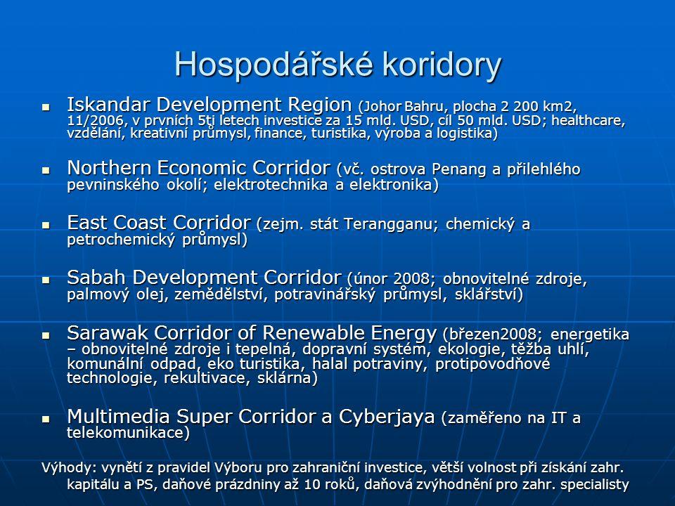 Hospodářské koridory Iskandar Development Region (Johor Bahru, plocha 2 200 km2, 11/2006, v prvních 5ti letech investice za 15 mld. USD, cíl 50 mld. U