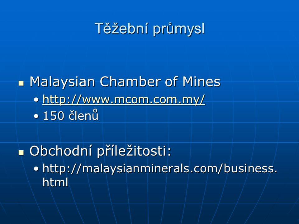Těžební průmysl Malaysian Chamber of Mines Malaysian Chamber of Mines http://www.mcom.com.my/http://www.mcom.com.my/http://www.mcom.com.my/ 150 členů1