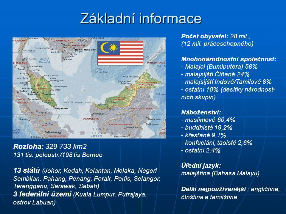 Počet obyvatel: 28 mil., (12 mil. práceschopného) Mnohonárodnostní společnost: - Malajci (Bumiputera) 58% - malajsijští Číňané 24% - malajsijští Indov