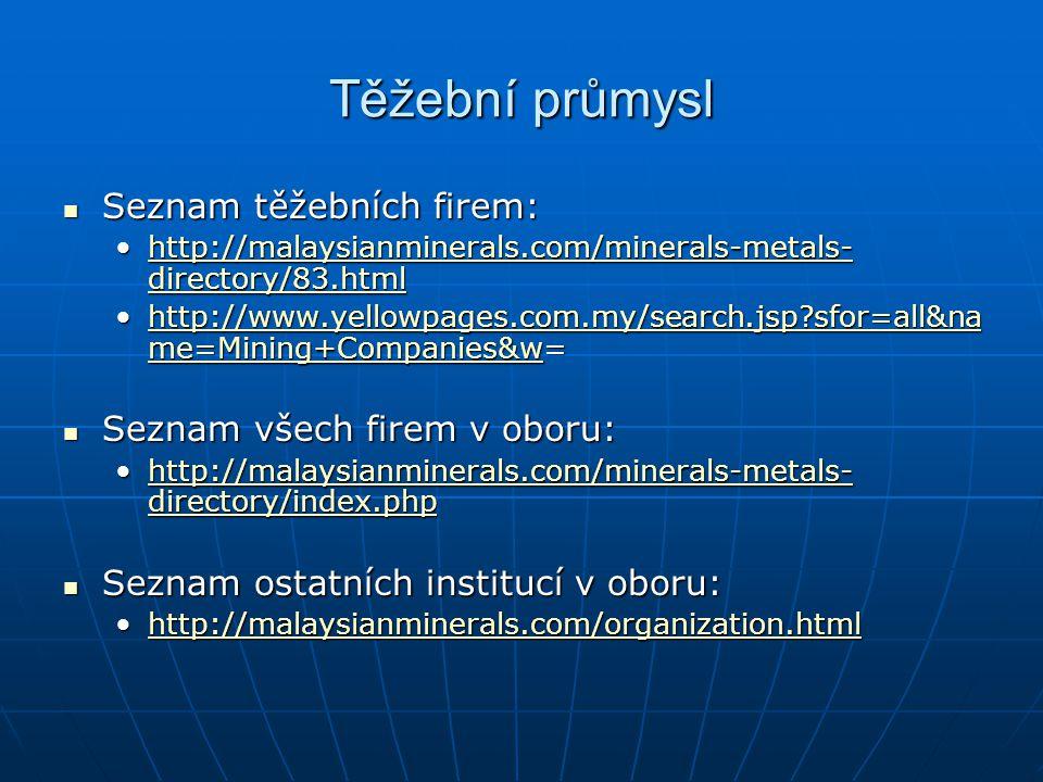 Těžební průmysl Seznam těžebních firem: Seznam těžebních firem: http://malaysianminerals.com/minerals-metals- directory/83.htmlhttp://malaysianmineral